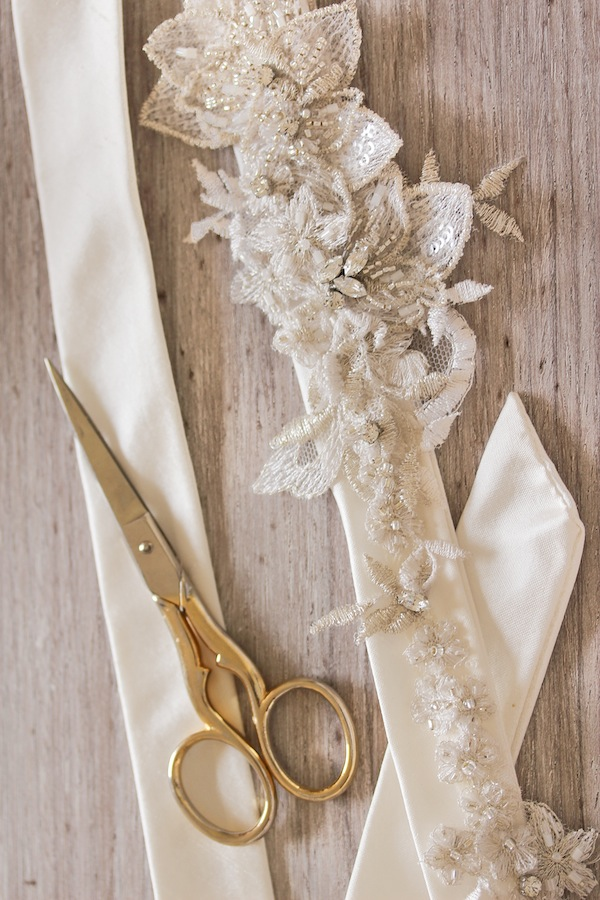 Silver and ivory lace wedding sash - Percy Handmade