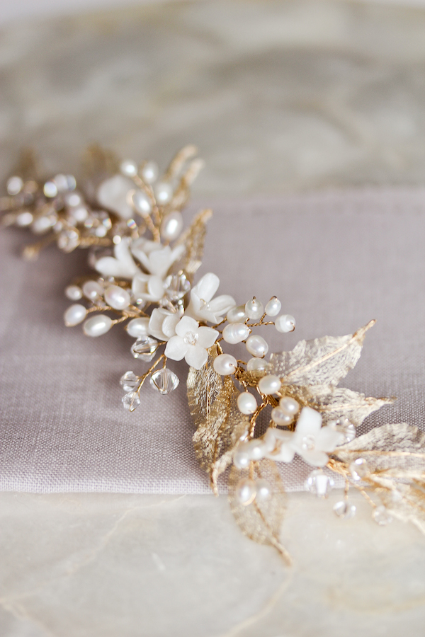 Gold leaf wedding headpiece with pearls