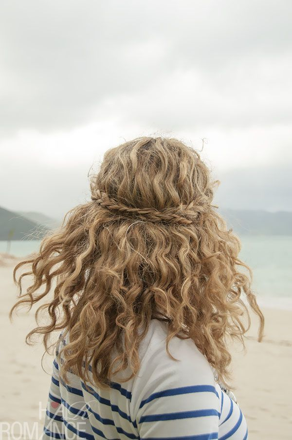 Naturally curly wedding hair with braid 11