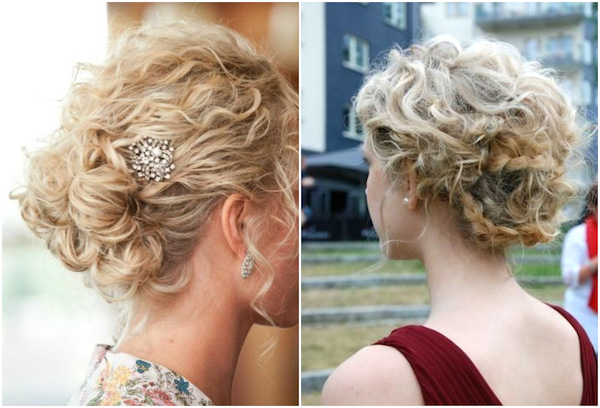 Naturally curly wedding hair_bridal updo