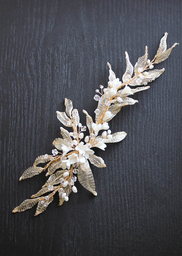 Bespoke for Natalie_Gold pearl wedding hair piece with leaves_1