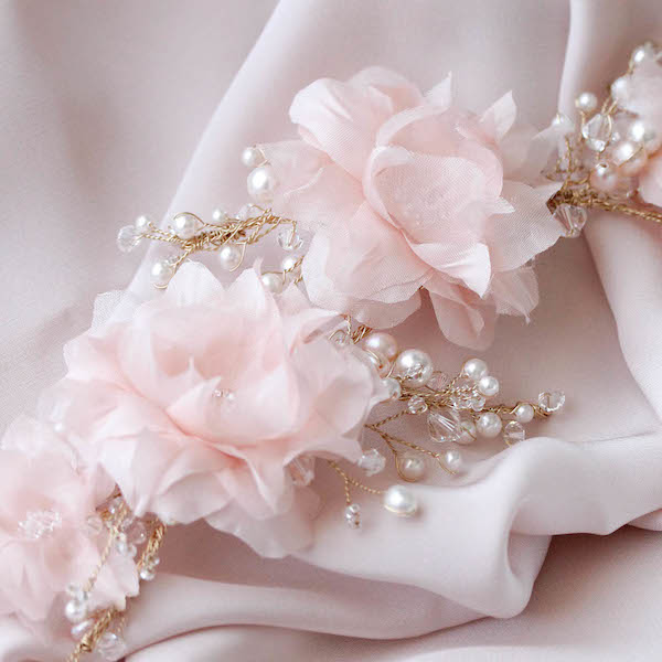 BESPOKE for Kate_Soft pink bridal headpiece with silk flowers and pearls 2