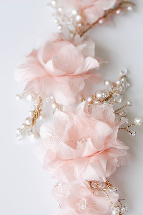 BESPOKE for Kate_Soft pink bridal headpiece with silk flowers and pearls 3
