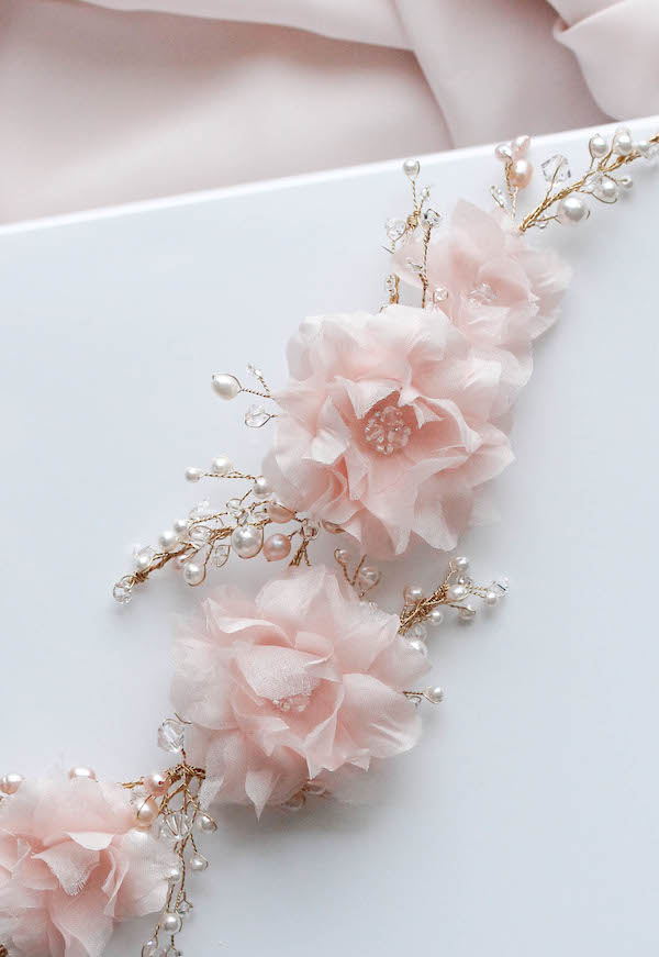 BESPOKE for Kate_Soft pink bridal headpiece with silk flowers and pearls 5