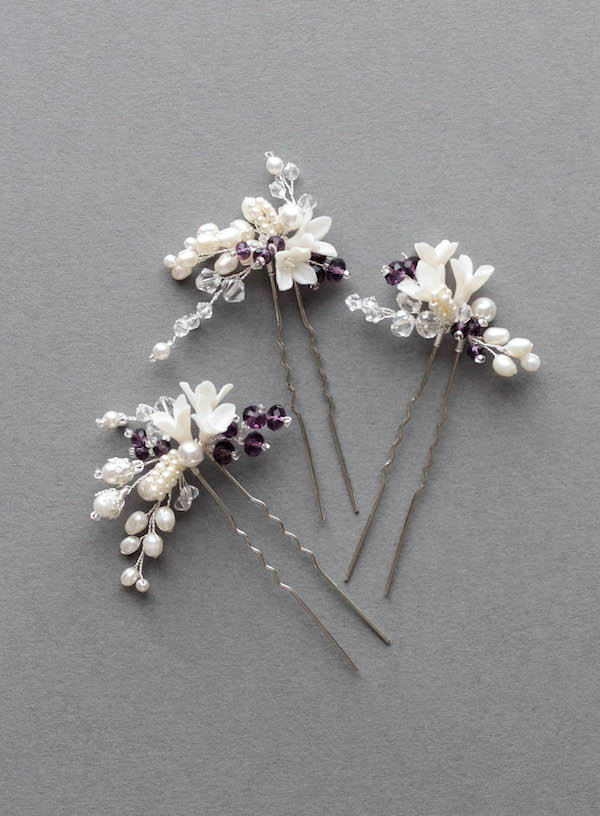 Bespoke for Mary_bridal hair pins in ivory and purple 1