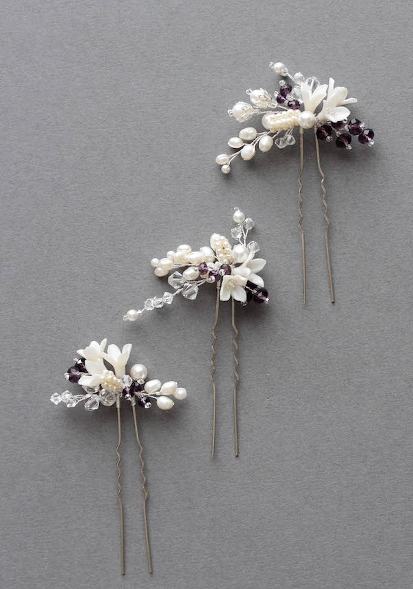 Bespoke for Mary_bridal hair pins in ivory and purple 3