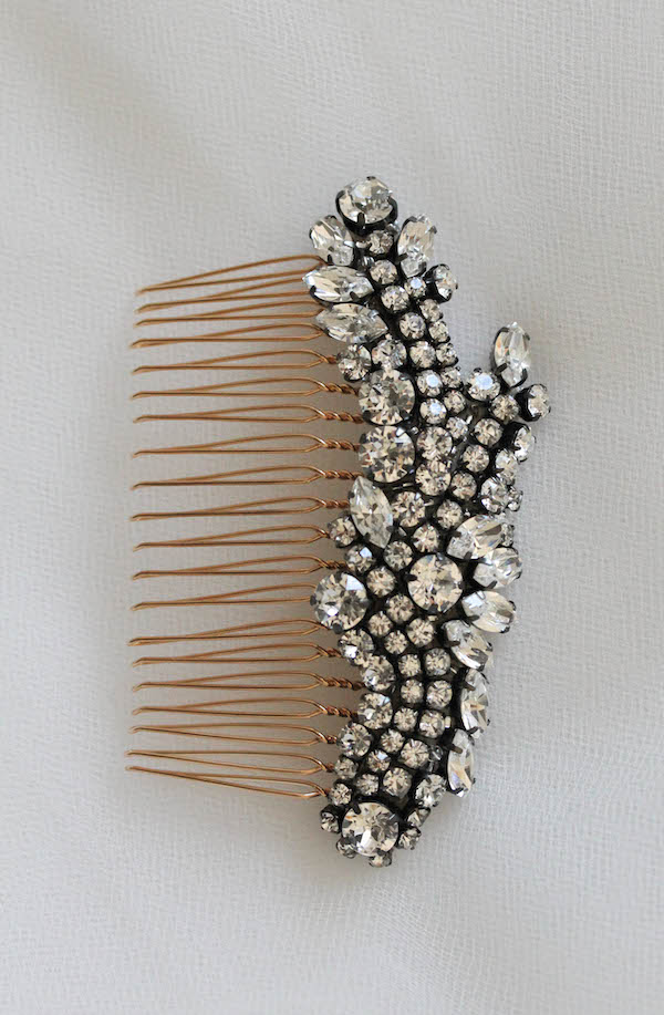 Bespoke for Kelly_Scarlett bridal comb in gunmetal settings 5
