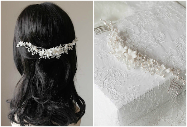 Bespoke for Abigail_Sonnet wedding headpiece in silver