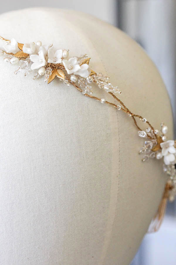 Bespoke for Elayne_Florence bridal headpiece in gold with golden leaves 4