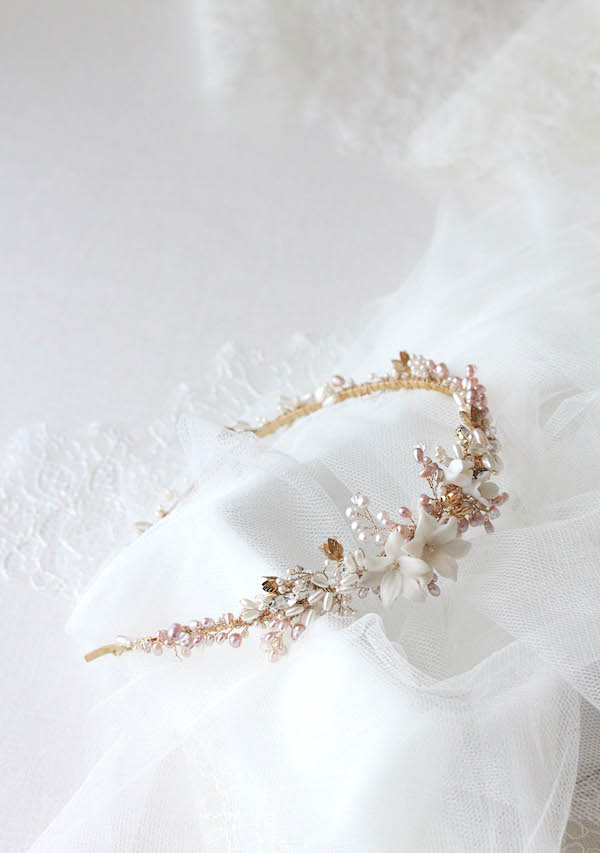 Bespoke for Eugene_gold and blush freshwater pearl wedding headband 7