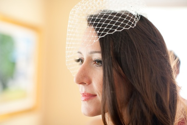 Bride Carrie wearing Marilyn birdcage veil
