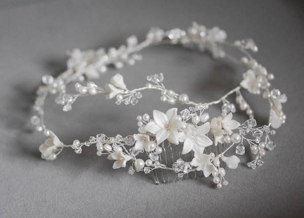 Bespoke for Shamsa_silver bridal hair vine with flowers 9 copy