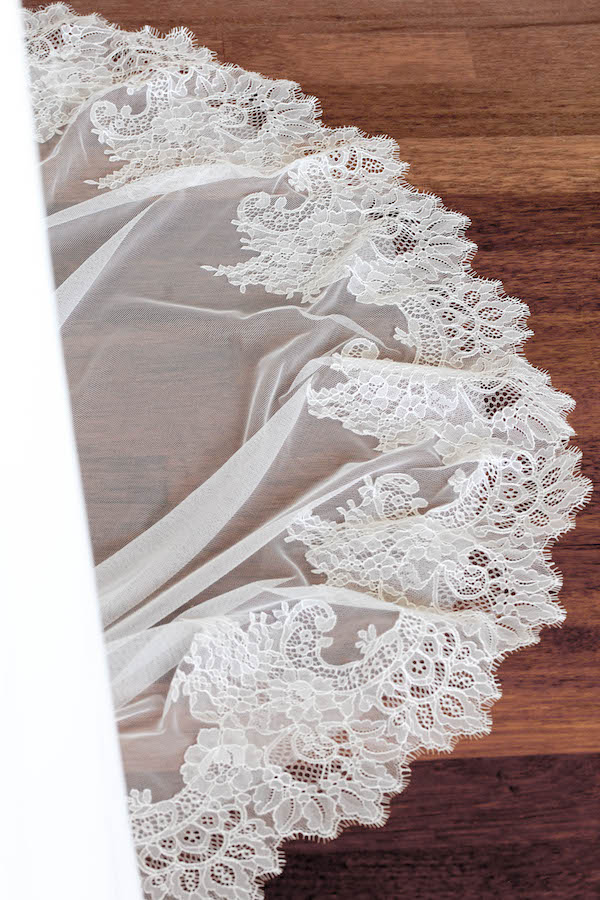 Chantilly lace Mantilla chapel veil for Hannah 6
