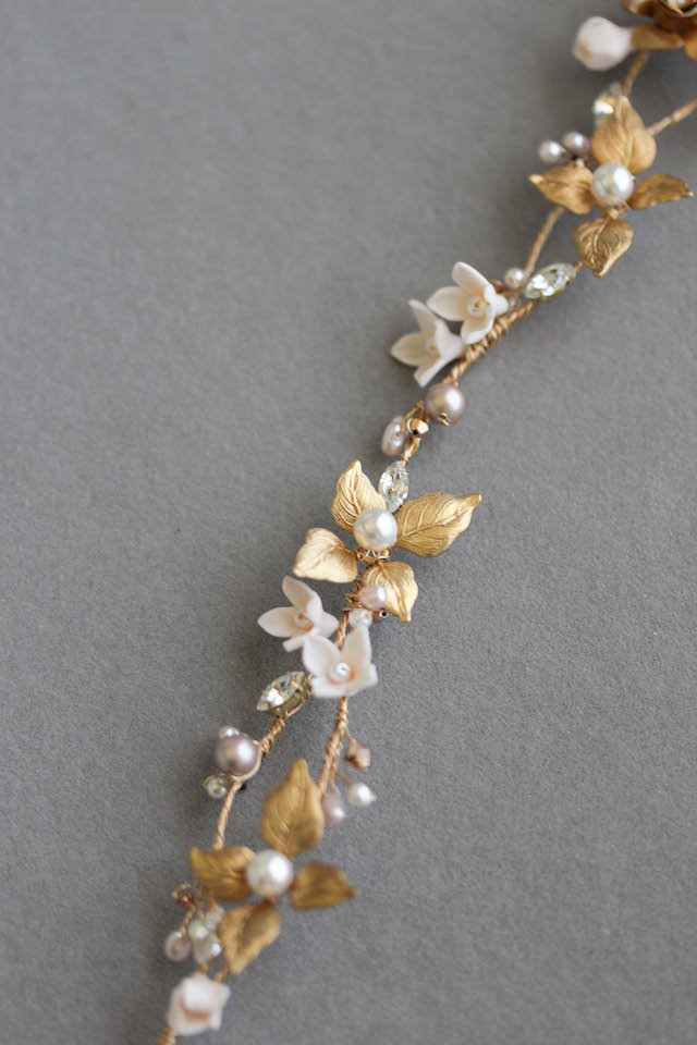 Gold and champagne bridal headpiece with flowers 4