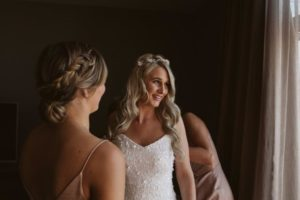 Bride Nicole wearing the Gabriel floral crown in silver 2