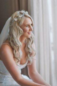 Bride Nicole wearing the Gabriel floral crown in silver 3