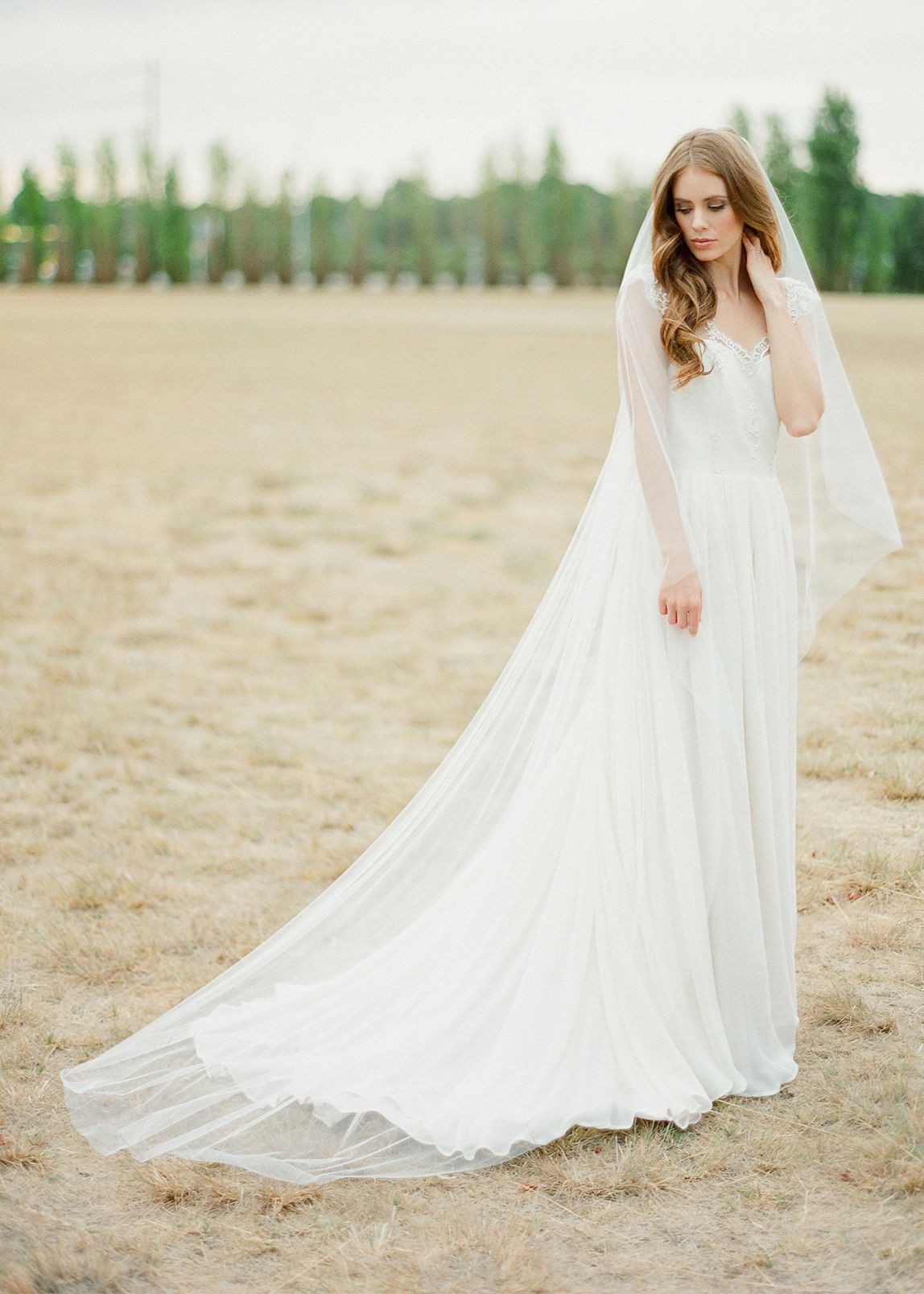 Ultra Soft Chapel Length Bridal Veil - Tania