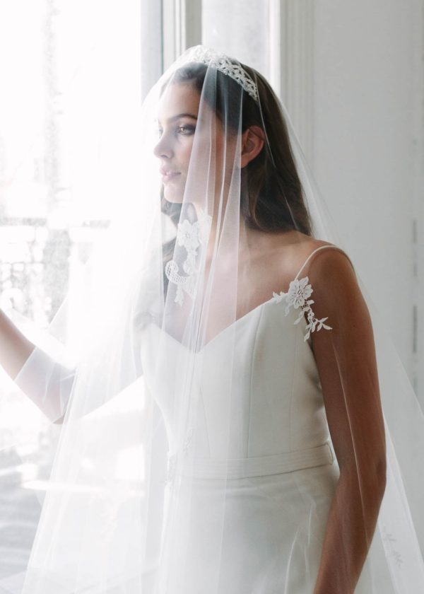 EMMIE chapel length veil with lace