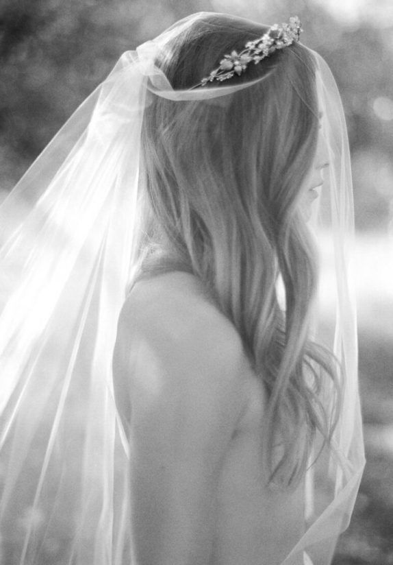 AMORA chapel length wedding veil with blusher 2