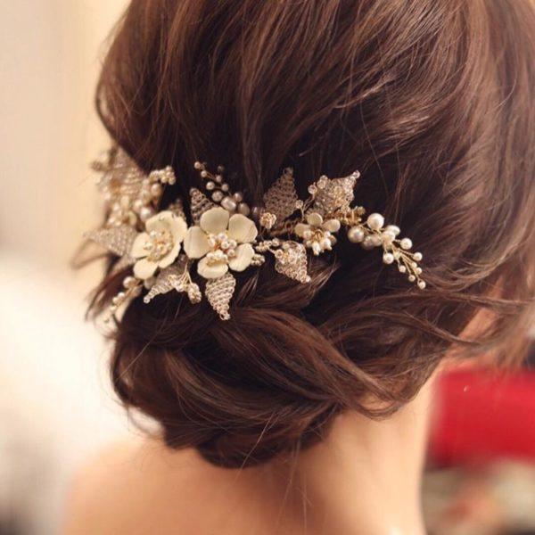 JASMINE floral headpiece in low set updo