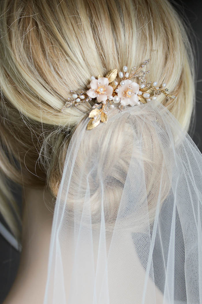 BESPOKE for Marcella | Pearl bridal hair comb with blush flowers 4