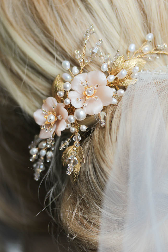BESPOKE for Marcella | Pearl bridal hair comb with blush flowers 5