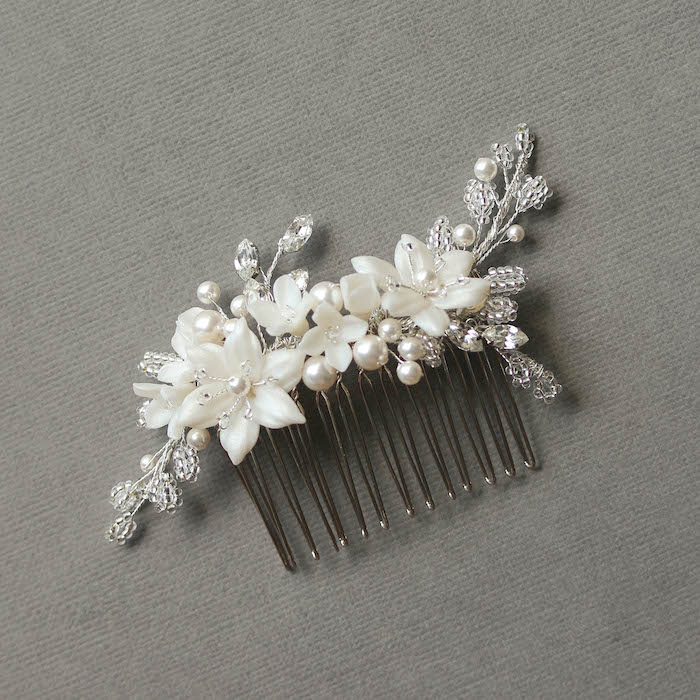 Antique Silver | A silver floral bridal comb for Kathy 1