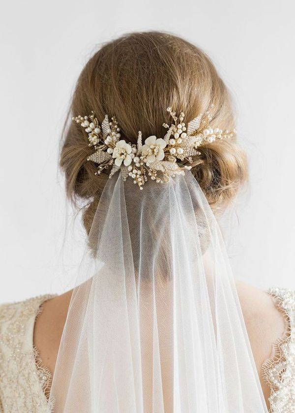 Low set wedding updos for wedding veils 6