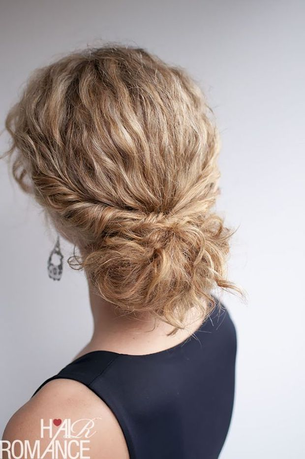 Naturally curly low set updo