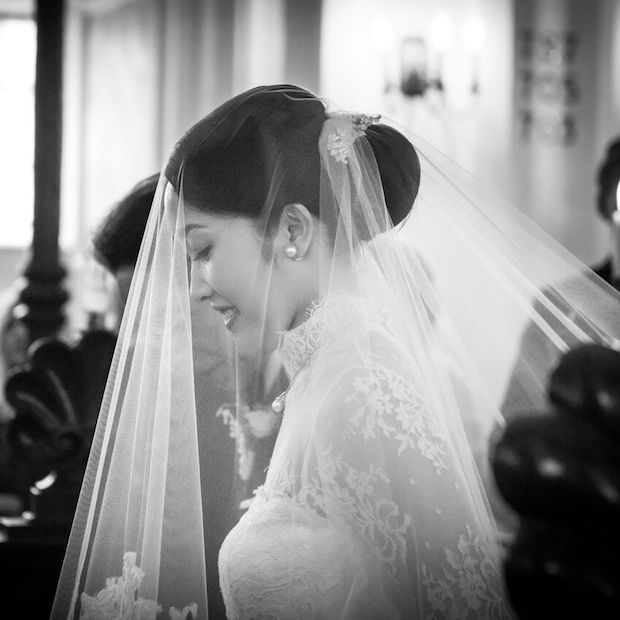 Wedding veil above the bun_ TANIA MARAS BRIDAL