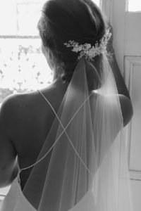 Wedding veils above or below the bun - MARION headpiece by TANIA MARAS BRIDAL 2