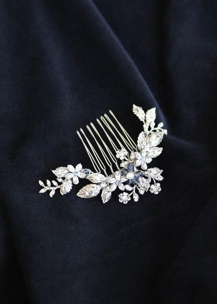 ARTEMIS silver crystal side comb 9