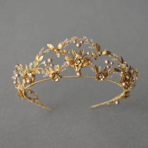 Bespoke for Alexandra_gold wedding crown with powder pearls 1