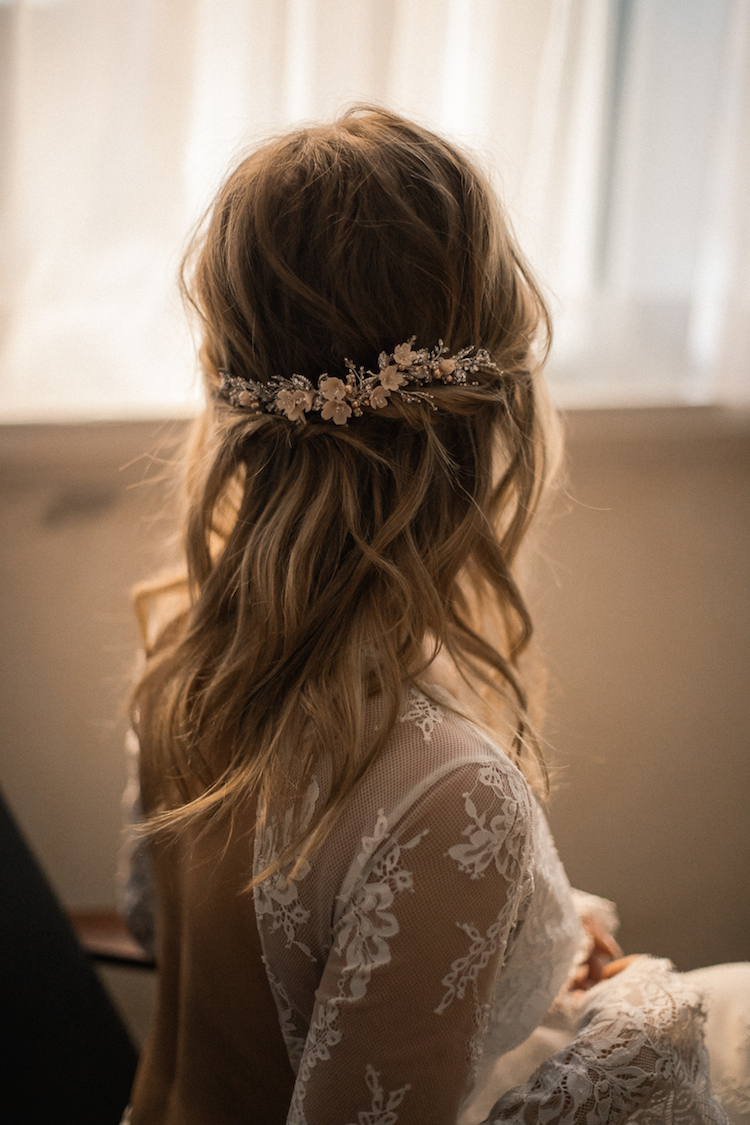 LE POEME silver blush wedding headpiece 1
