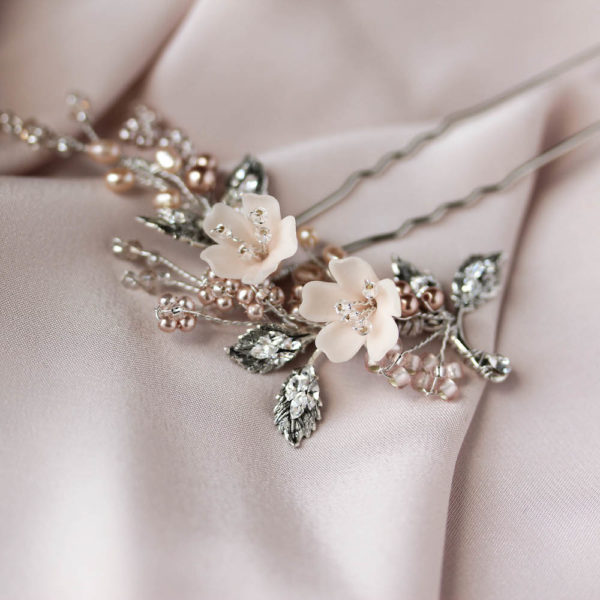 TEAROSE blush wedding hair pin 4