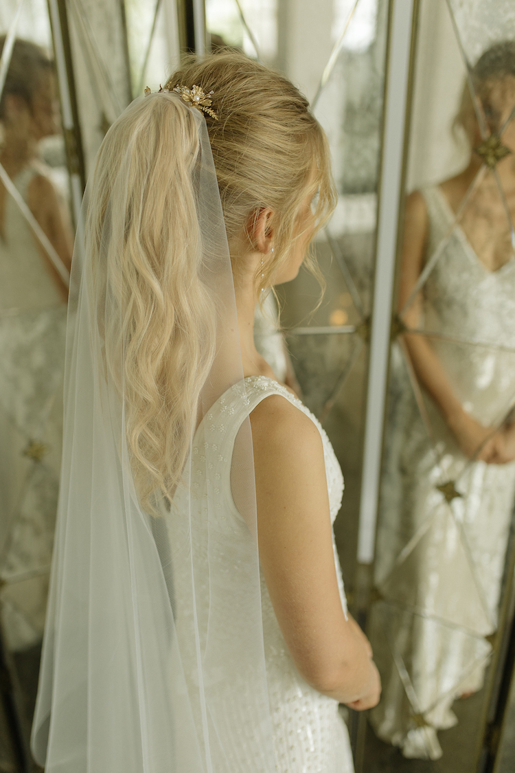 AUDREY minimalist chapel wedding veil 12