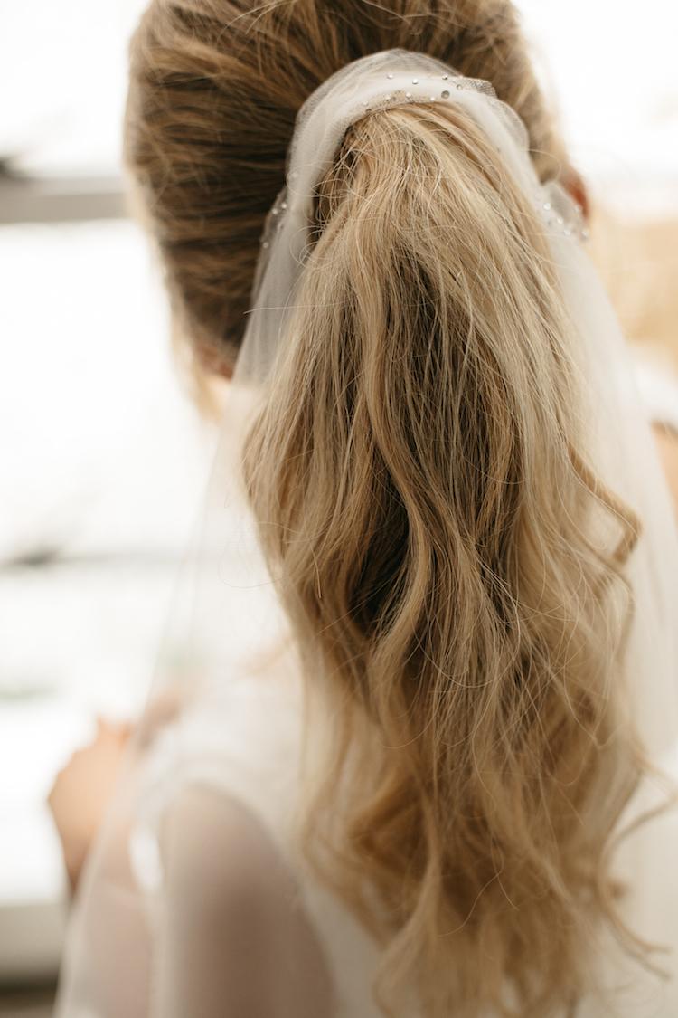 BORDEAUX fingertip wedding veil for ponytail 15