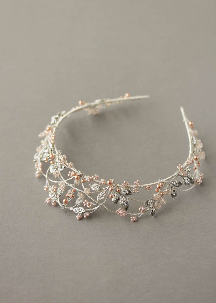 Silver and rose gold wedding crown 4