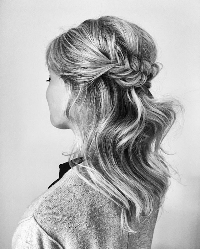Half up braided hairstyle - 2018 wedding hair trends