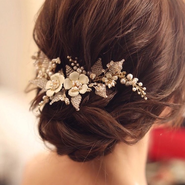 JASMINE floral headpiece in low set updo