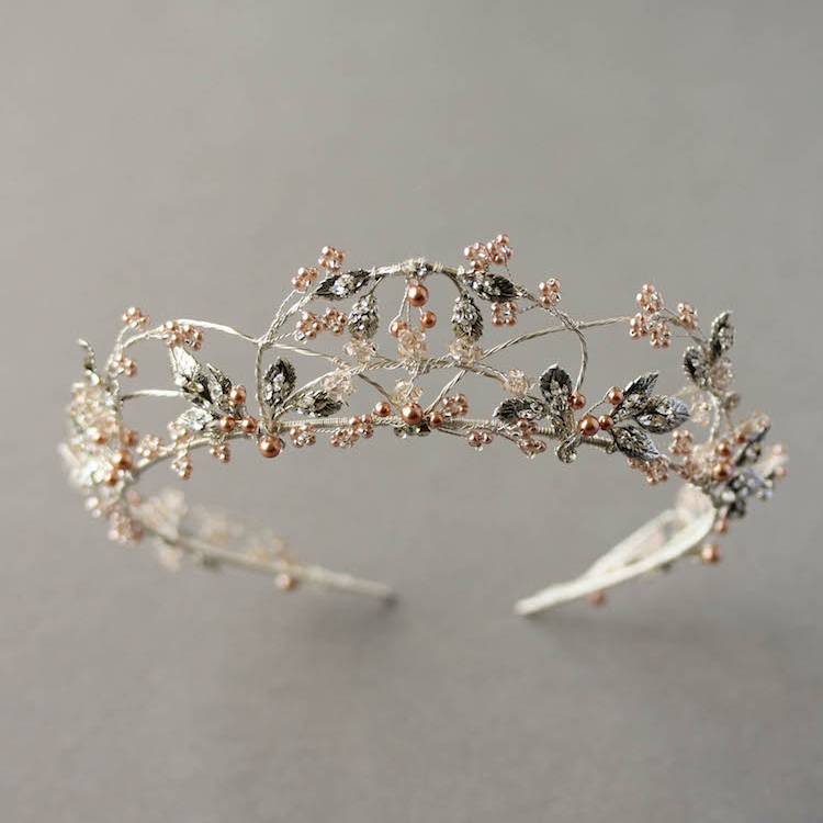 Antique silver and blush wedding crown
