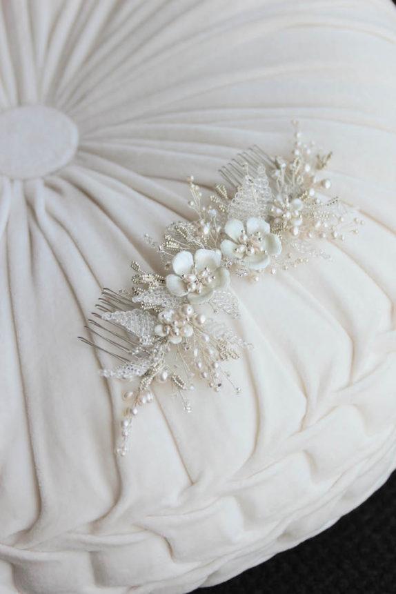 JASMINE floral headpiece in silver 3