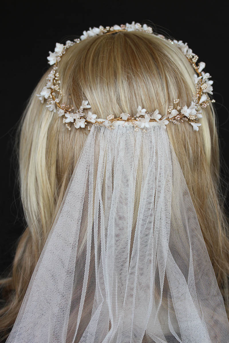 Bespoke for Pauline_gold floral wedding halo in ivory blush 5
