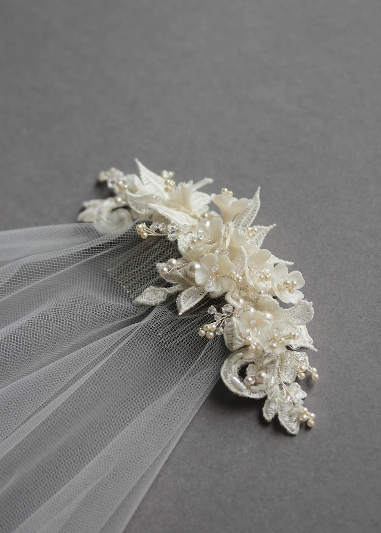 Bespoke for Sarah_lace wedding headpiece with drop veil 3