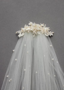 Bespoke for Sarah_lace wedding headpiece with pearls 2