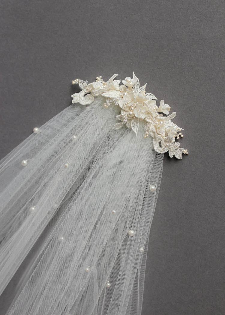 Bespoke for Sarah_lace wedding headpiece with pearls 4