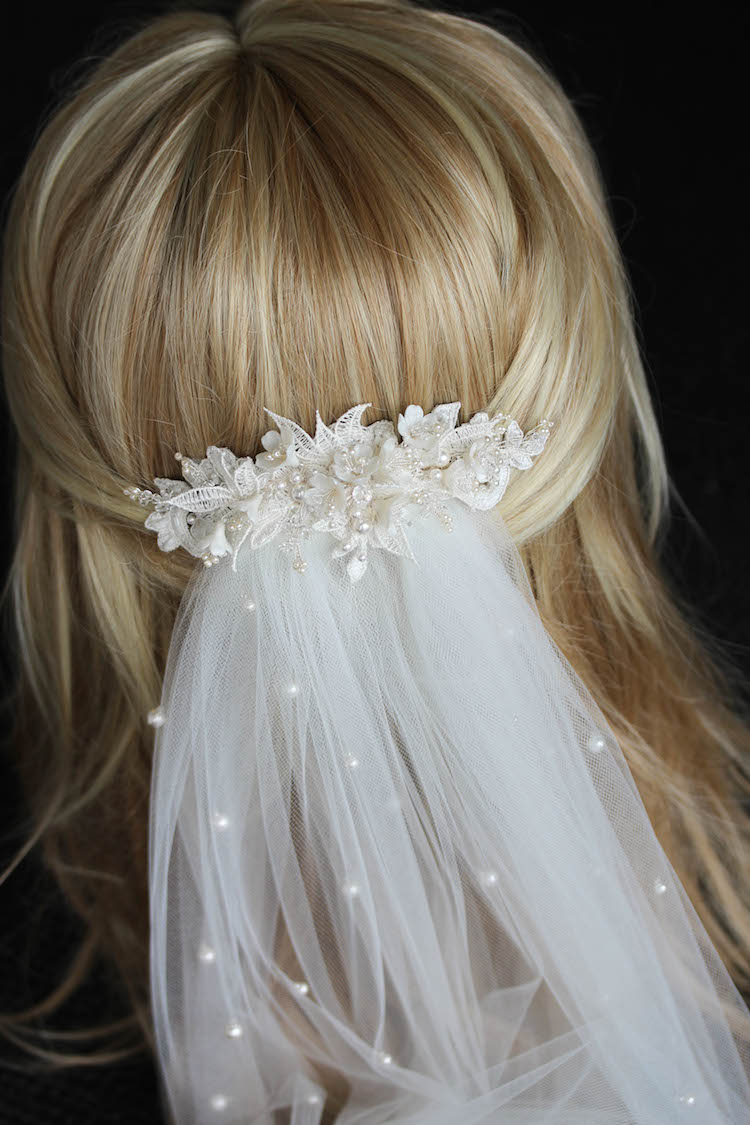 Bespoke for Sarah_lace wedding hair piece with pearls 9