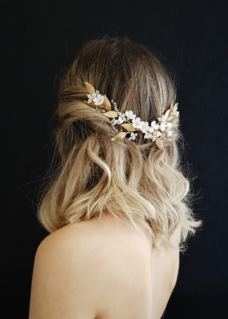 HONEYSUCKLE floral wedding headpiece 8