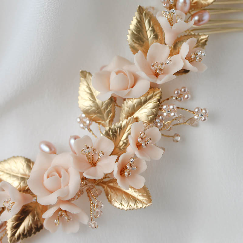 NECTAR blush and gold wedding headpiece