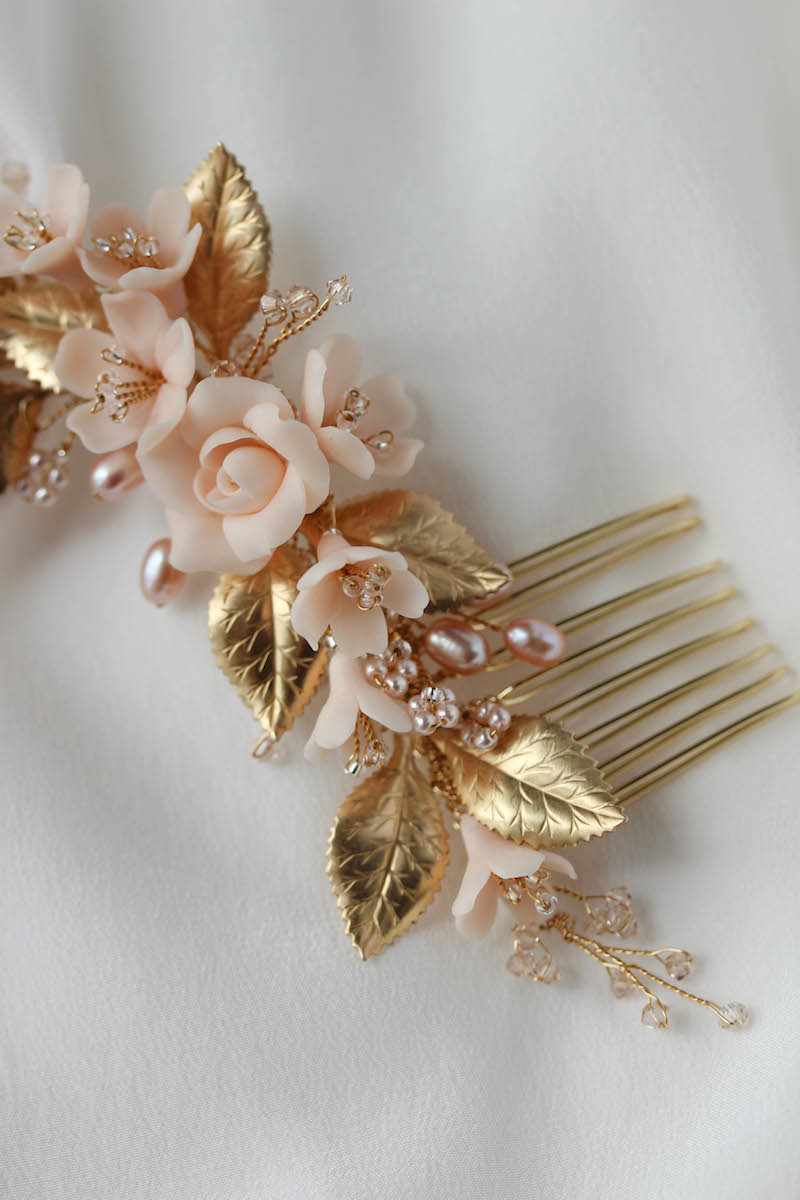 NECTAR blush and gold wedding headpiece 5